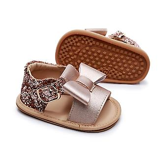 Summer Baby Crystal  Princess Sandals Toddler Cute Big Bow Fancy Shiny  Sequins Flat Shoes