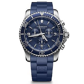Heren Victorinox MAVERICK Chronograph horloge, blauwe lunette en wijzerplaat, blauwe rubberen band - 43 mm