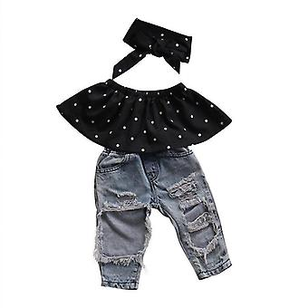 Nouveau-né Baby Girl Clothes Dot Sleeveless Top Vest Hole Jeans Pantalon Outfits