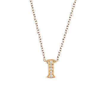 Pink Personalised Initial Letter I Diamond Gemstone Rose Gold Pendant Necklace