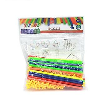 4d Straw Building Blocks Tunnel Shaped Stitching Inserted Construction Toys