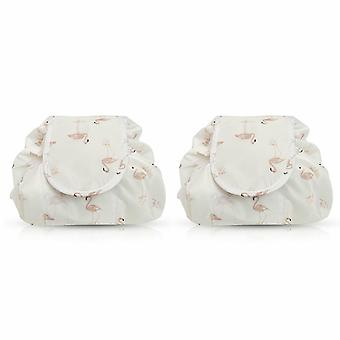 Envie Travel Cosmetic Drawstring Polyester Bag Pouch, Pack of 2, Flamingo  Cream