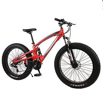 Mountain Bike- Double Disc Brake Beach Bicycle Carbon Steel 24/26 Inch