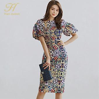 Queen Flower Print Suits, Women Summer O-neck Shirt Top & High Waist Split