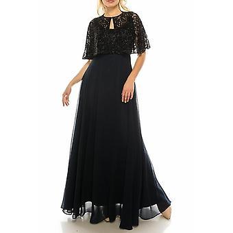 Twilight musta helmillä pitkä ympyrä iltaviitta mekko