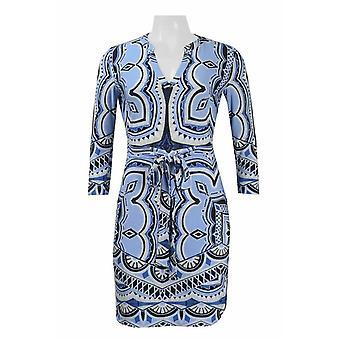 V-neck 3/4 Sleeve Tie Waist Multi Print Jersey Dress