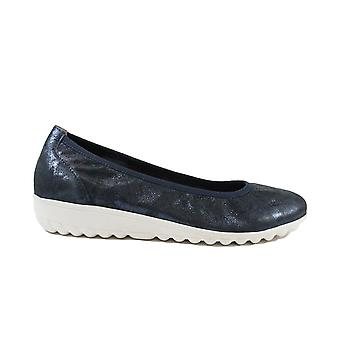 Caprice 22161-862 Navy Leather Womens Slip On Ballet Pump Shoes