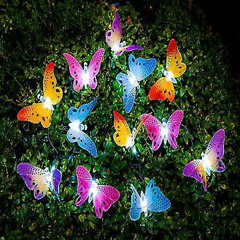 Led Solar Powered Butterfly Fiber Optic Fairy String Lights Waterproof Garden