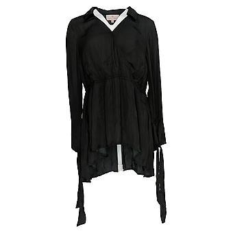 Laurie Felt Women's Top Ribbon Long Sleeve Woven Blouse Preto A309556
