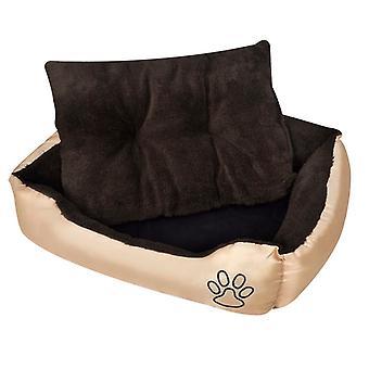 سرير الكلب مع المفروشات الناعمة حجم L البيج