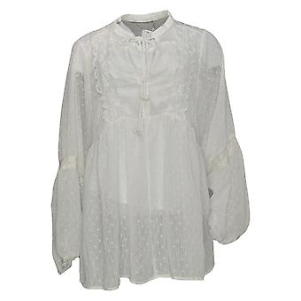 Bishop + Young Women's Top Plus Swiss Dot Peasant Blouse White A377229