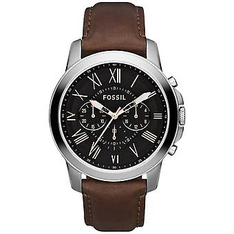 Fóssil FS4813 Grant Chronograph Black Dial Brown Leather Men's Watch