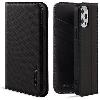 VISOUL Case for iPhone 12 Pro and iPhone 12, Carbon Fiber Leather Magnetic Closure Book Stand
