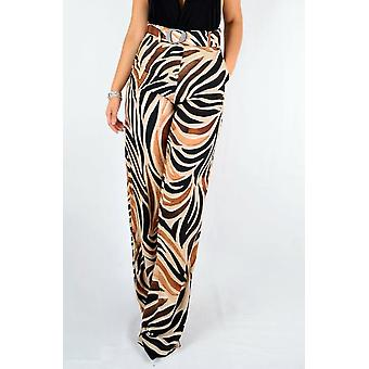 Printed Wide Pants With Belt