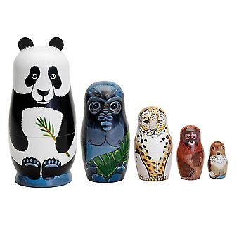 Panda Tiger Animal Wooden Russian Nesting Dolls Handmade Toy