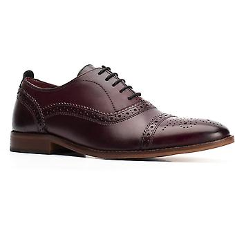 Base cast washed leather mens formal shoes dark red UK Size