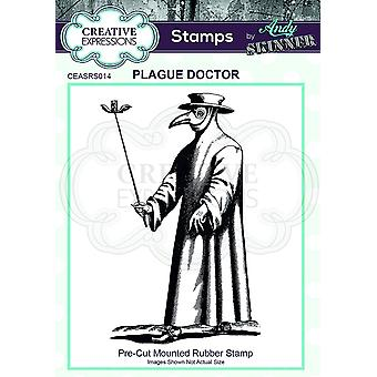 Creative Expressions Andy Skinner Plague Doctor 2.8 in x 1.8 in Rubber Stamp