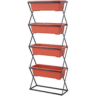 Vertikal tornplanterare - 4 fack röd - 51x21x125 cm