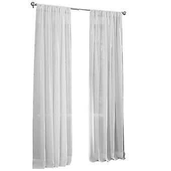 La Linen Sheer Voile Drape Panel 118-Inch Wide By 48-Inch High, White