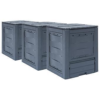 L Garden Composters 3 Pcs Grey 60x60x73cm 780 L