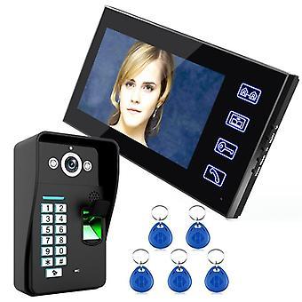 7 Inch Rfid Fingerprint Video Door Phone Intercom Doorbell With Ir-cut Ir