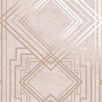 Delano Geo Behang Roze / Rose Gold Holden 75940