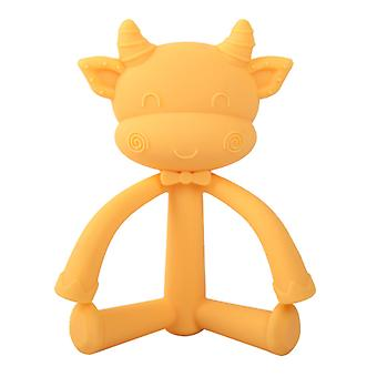 Non Toxic Silicone cow shape Baby Teether Toy,yellow