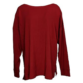 Cuddl Duds Women's Top Plus Comfortwear Boatneck Pullover Red A381694