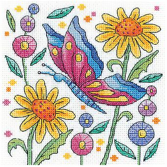 Heritage Crafts Cross Stitch Kit - Red Butterfly