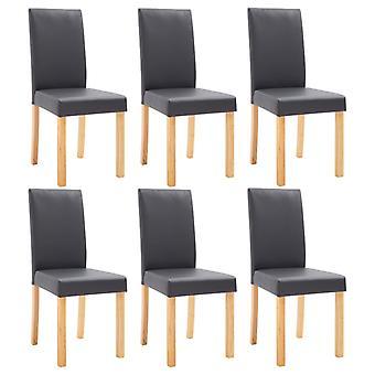 vidaXL sillas de comedor 6 piezas de cuero gris