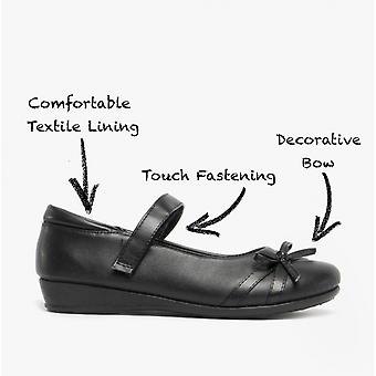US Brass Drizzle Girls Bow Touch Fastened Bar Shoes Black