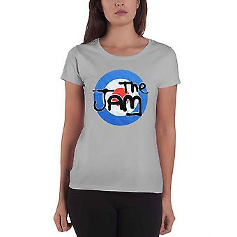 The Jam T Shirt Spray Target Band Logo new Official Womens Skinny Fit Grey