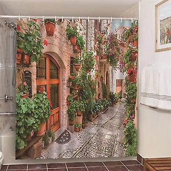 Misty Forest Nordic Style Shower Curtains Set With Hooks ( Set 1)