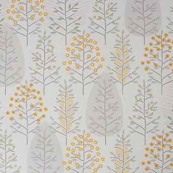 Fresco Floral Green Yellow Wallpaper
