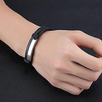 Double Black Stainless Steel Men's Leather Bracelet