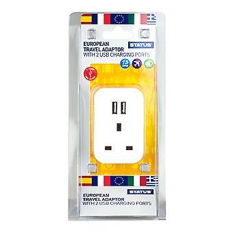 Status Europäischer Stecker durch Reiseadapter mit 2 USB-Anschlüssen