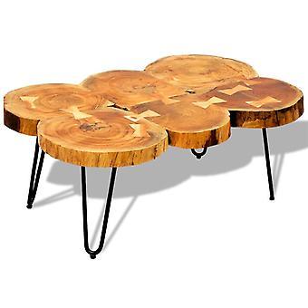 vidaXL soffbord 35 cm 6 trädskivor Masivholz
