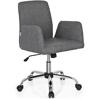 723030 Living Stuhl Flow Stoff Grau Bürostuhl Drehsessel gepolstert mit Rollen & Wippfunktion,