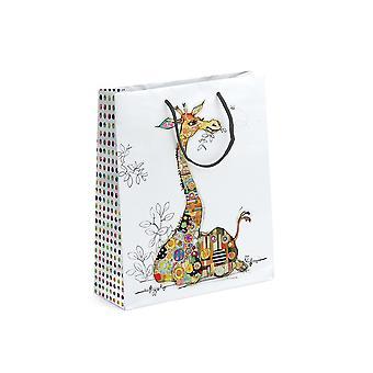 LAST FEW - Medium Paper Geschenktasche - Kooky Giraffe - 23x17x12