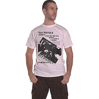 The Sex Pistols T Shirt free Tade Hall Manchester Flyer new Official Mens White