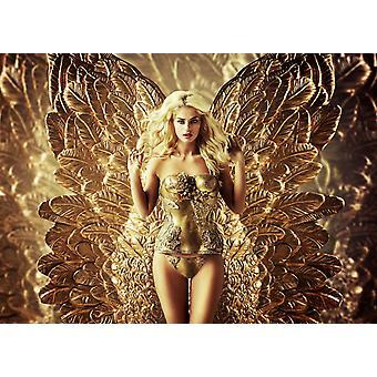 Parede mural loira tentadora senhora com as asas douradas