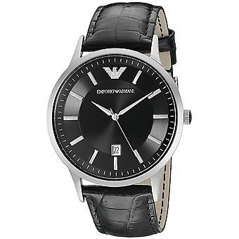 Emporio Armani AR2411 Black Leather Strap Date Window Men's Watch