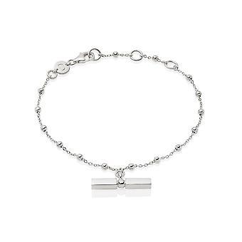 Daisy Stacked T Bar Sterling Silver Bracelet BRB8002_SLV