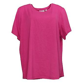 Susan Graver Women's Plus Top Modern Essentials Textured Crew Pink A376573