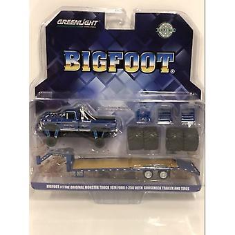 Iso jalka Monster Kuorma Gooseneck perävaunu ja renkaat 1:64 Greenlight 30054