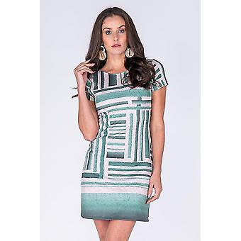 Short Sleeve Green Print Dress