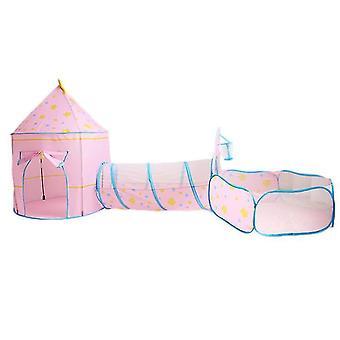 Ocean Ball Pool Tunnel Indendørs Home Play House Baby Legetøj House Børn Tent Pink
