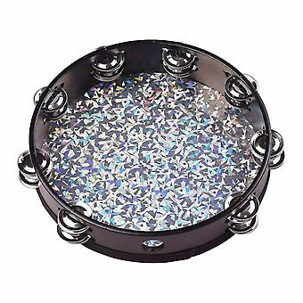 Drum kits 8/10 inch wooden radiant tambourine handbell hand drum with double rows jingles shining reflective