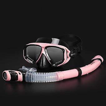 Einstellbare Schnorchel-Tauchmaske Set mit Anti-Beschlag-Brille (Schwarz Pink)