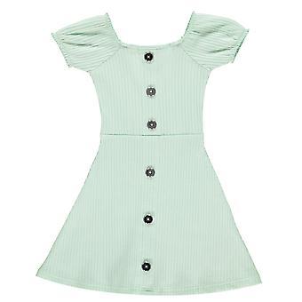 Firetrap Girls Rib Dress Junior Short Puff Sleeve Elasticated Cuffs Ribbed Top